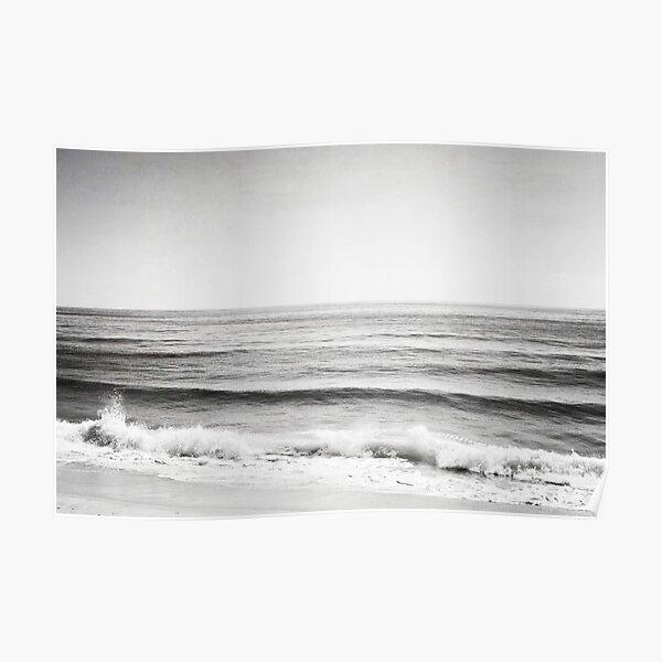 Black and White Ocean Beach Seascape Poster