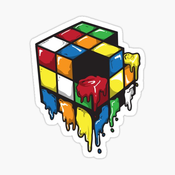 small Rubiks Cube Melting Sticker