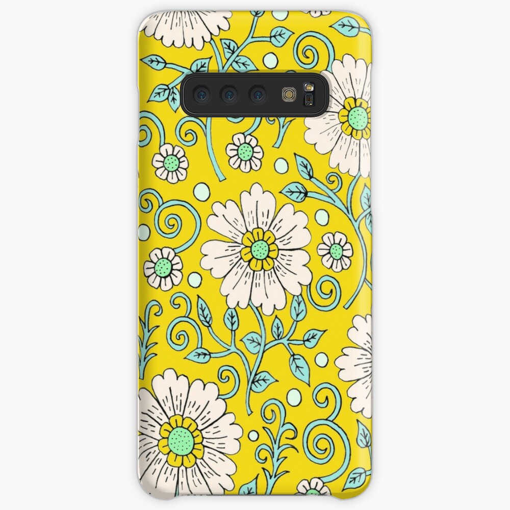 Lemon Yellow Floral Cases & Skins for Samsung Galaxy