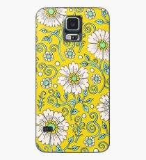 Zitronengelb Floral Hülle & Klebefolie für Samsung Galaxy