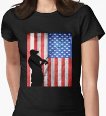 Fishing American Flag Women's Fitted T-Shirt