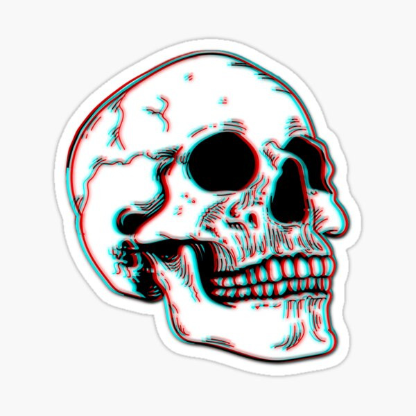 Grunge 3D Skull  Sticker