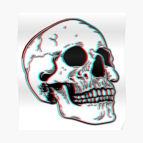 Grunge 3D Skull  Poster