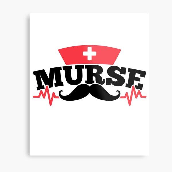 Savvy Turtle Nurse for Men Murse Mustache Metal Print