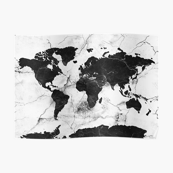world map marble Poster