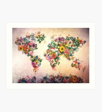 world map floral 4 Art Print