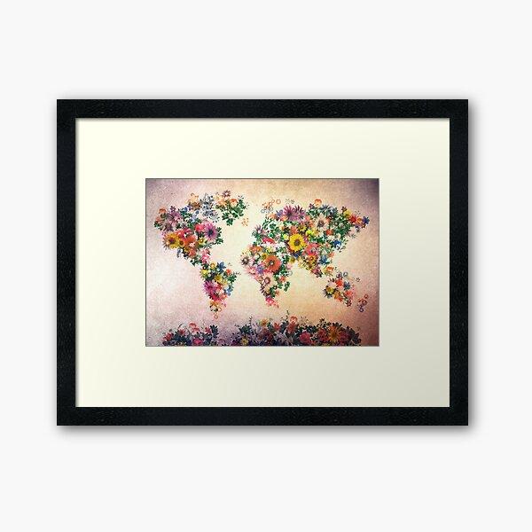carte du monde floral 4 Impression encadrée