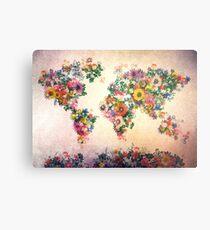 world map floral 4 Metal Print