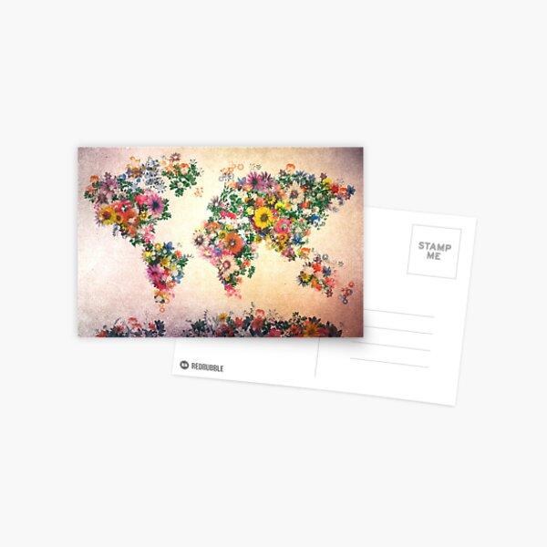 carte du monde floral 4 Carte postale