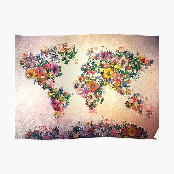 mapa del mundo floral 4 Póster