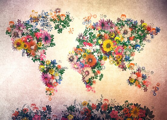 world map floral 4
