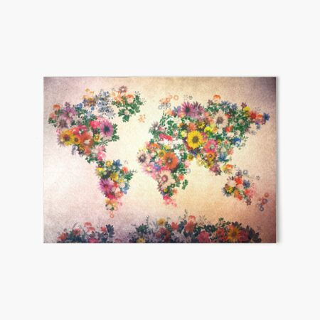 world map floral 4 Art Board Print
