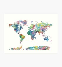 world map mandala 6 Art Print