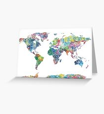 world map mandala 6 Greeting Card