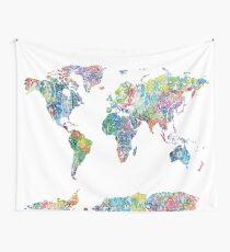 world map mandala 6 Wall Tapestry