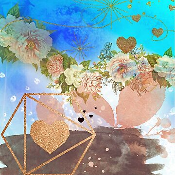 My vintage heaven rose adventure, surreal,surrealism,mixed media, roses,metalic paint, gold,rose gold,manipulated photo by love999