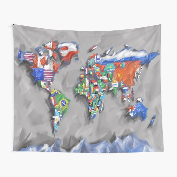 world map flags 3 Tapestry