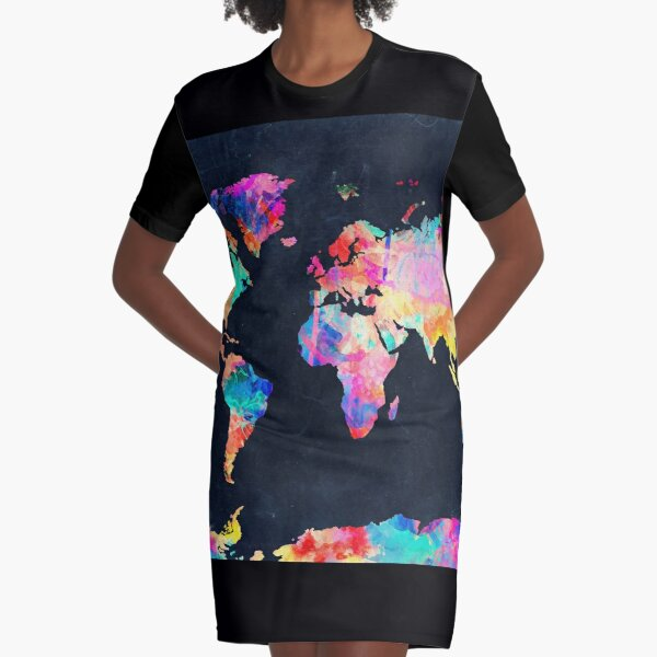 World Map watercolor 2 Graphic T-Shirt Dress