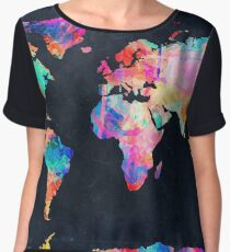 World Map watercolor 2 Chiffon Top