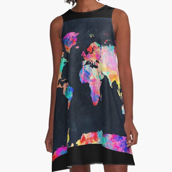 World Map watercolor 2 A-Line Dress