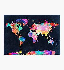 Weltkarte Aquarell 2 Fotodruck