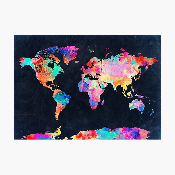 World Map watercolor 2 Photographic Print