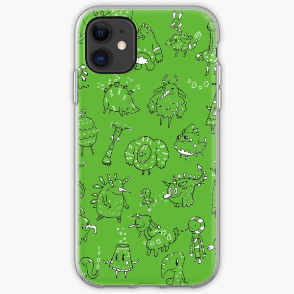 Random Creatures Phone Case - Dark Green iPhone Soft Case