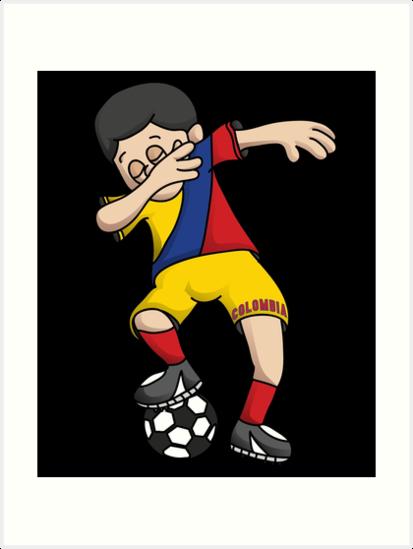 41ae6b68056 Colombia Football Dabbing Soccer Boy With National Flag Jersey Futbol Fan  Shirt by BzarDesigns