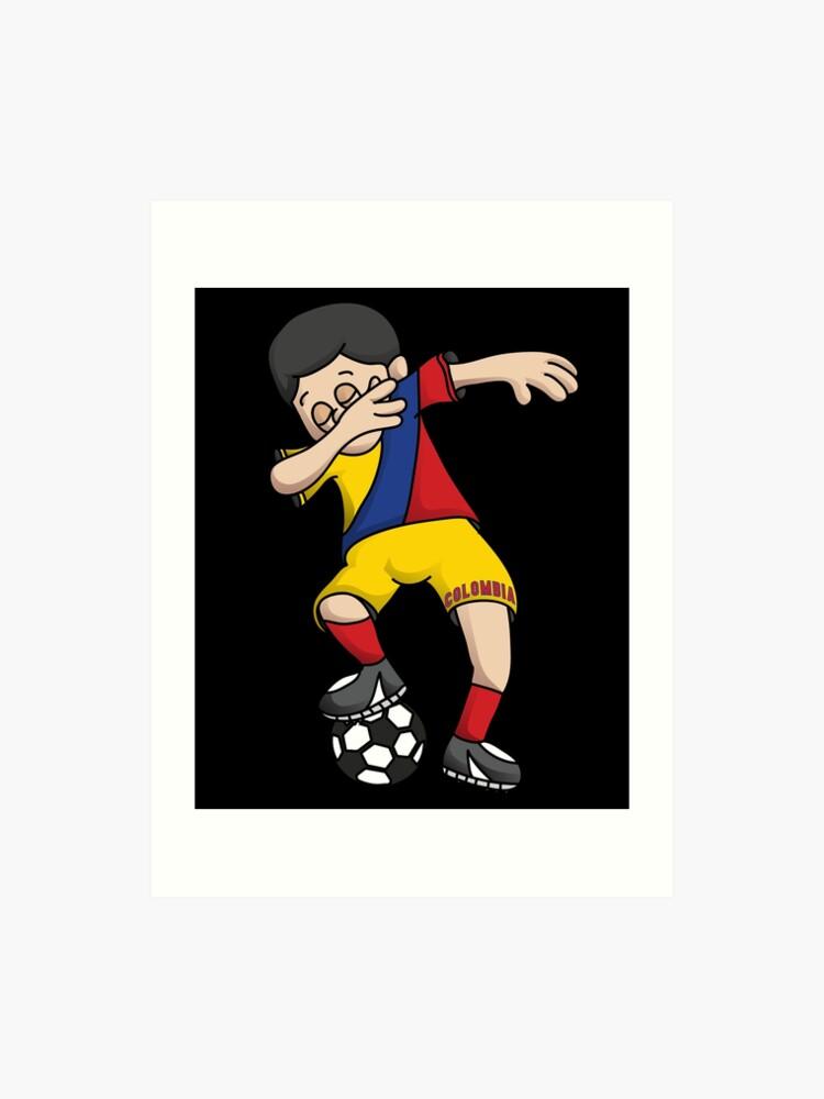 1ae29e19448a1 Colombia Football Dabbing Soccer Boy With National Flag Jersey Futbol Fan  Shirt | Art Print