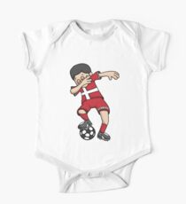 Denmark Football Dabbing Soccer Boy With National Flag Jersey Futbol Fan Shirt One Piece - Short Sleeve