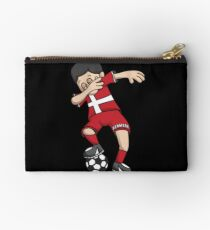 Denmark Football Dabbing Soccer Boy With National Flag Jersey Futbol Fan Shirt Studio Pouch
