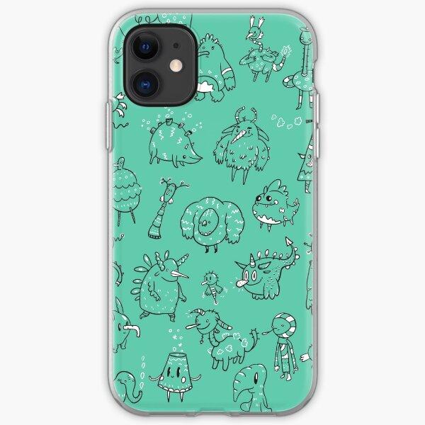 Random Creatures Phone Case - Teal iPhone Soft Case