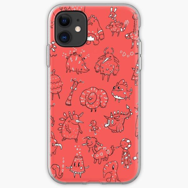 Random Creatures Phone Case - Red iPhone Soft Case