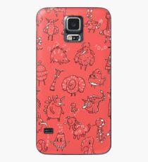 Random Creatures Phone Case - Red Case/Skin for Samsung Galaxy