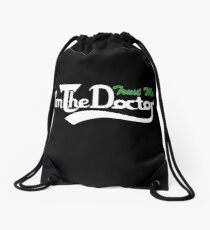 trust me i'm the doctor typograph Carls style Drawstring Bag