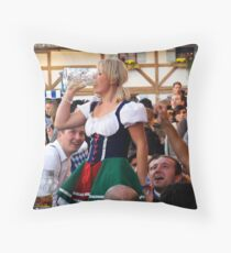 Blonde Finishing Beer at Oktoberfest Throw Pillow
