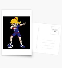 Australia Dabbing Soccer Girl With Soccer Ball And National Team Flag Football Fan Design Postcards