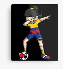 Colombia Dabbing Soccer Girl With Soccer Ball And National Team Flag Football Fan Design Metal Print
