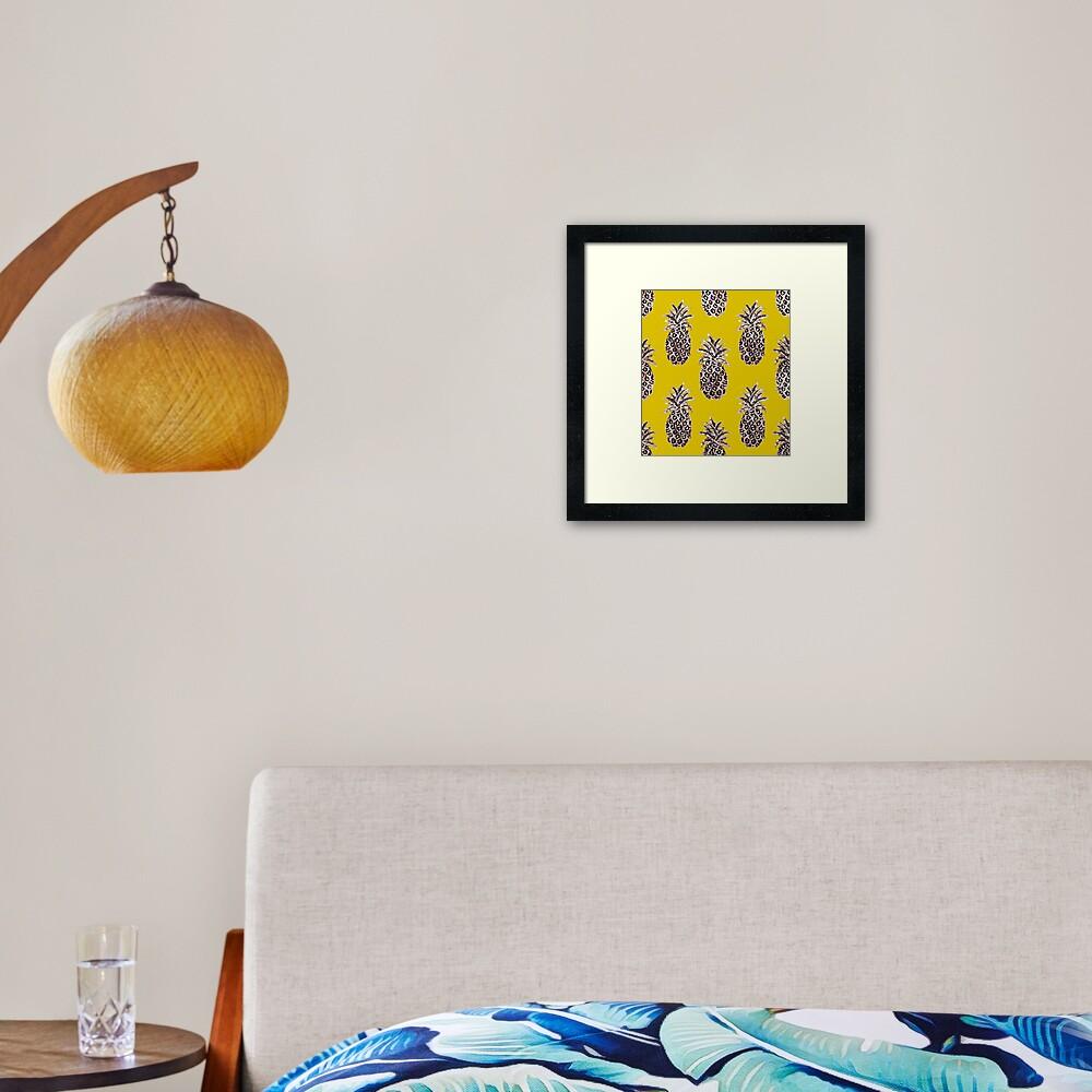 Gold Pineapples on Mustard yellow Framed Art Print