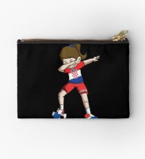 Croatia Dabbing Soccer Girl With Soccer Ball And National Team Flag Football Fan Design Studio Pouch