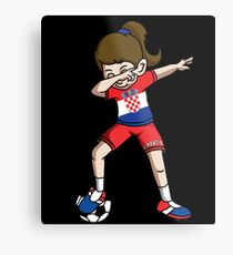Croatia Dabbing Soccer Girl With Soccer Ball And National Team Flag Football Fan Design Metal Print