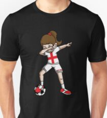 England Dabbing Soccer Girl With Soccer Ball And National Team Flag Football Fan Design Unisex T-Shirt
