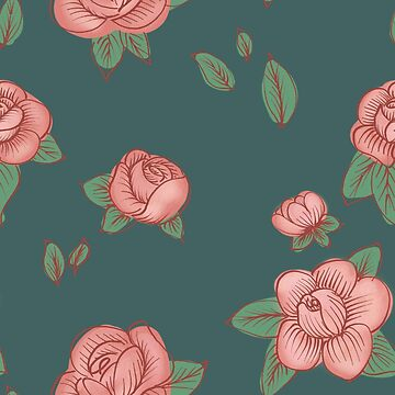 Teal & Pink Floral by mamawolf9013