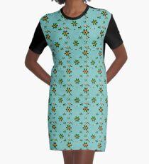 Floral on greenish blue Graphic T-Shirt Dress