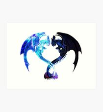 Dragon Heart (Toothless and Light Fury) Art Print