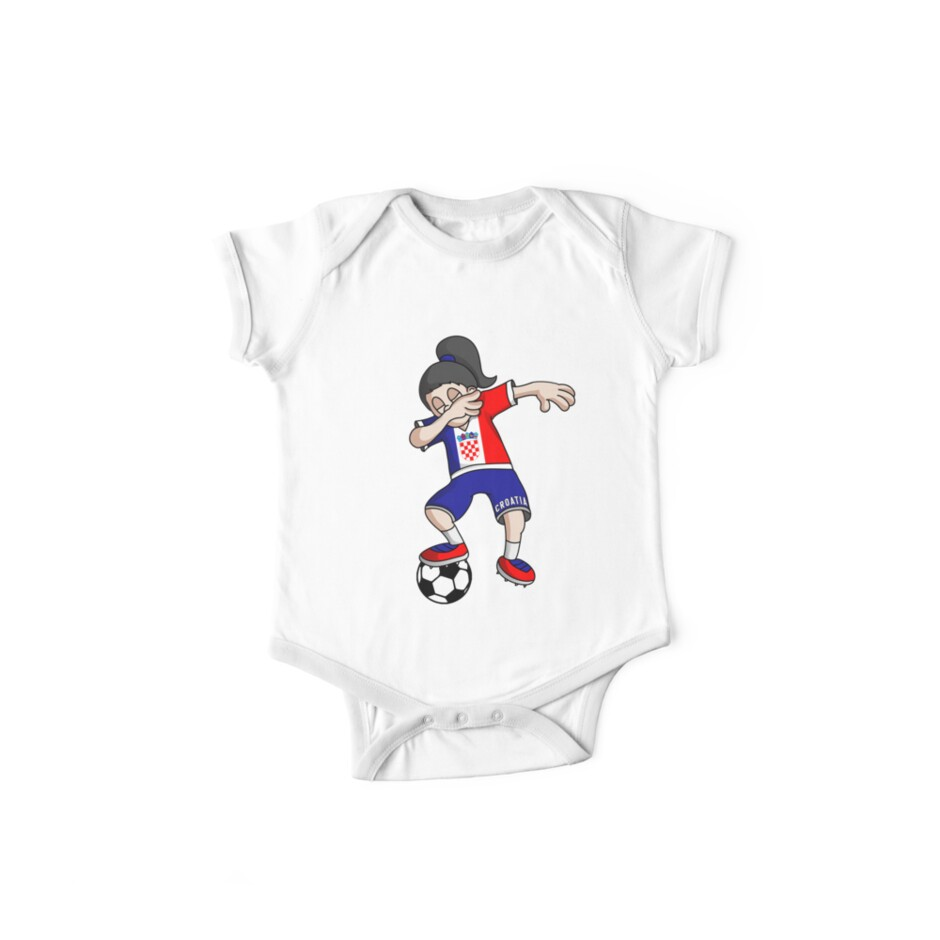 73e37d9bcc7 Croatia Football Dabbing Soccer Girl With Soccer Ball And National Flag  Jersey Futbol Fan Design by