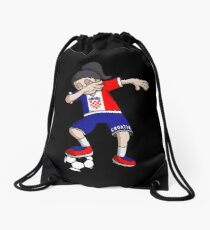 Croatia Football Dabbing Soccer Girl With Soccer Ball And National Flag Jersey Futbol Fan Design Drawstring Bag