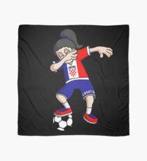 Croatia Football Dabbing Soccer Girl With Soccer Ball And National Flag Jersey Futbol Fan Design Scarf