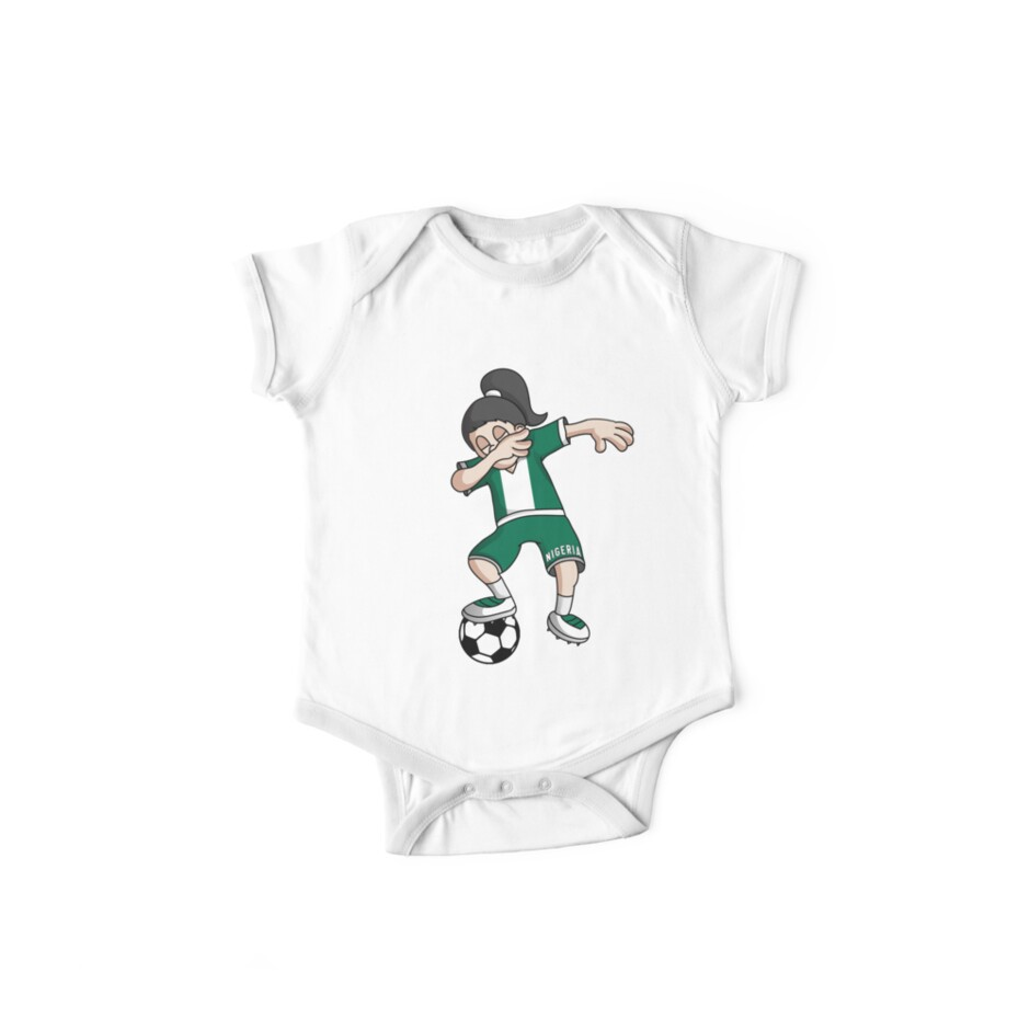 ab252b206 Nigeria Football Dabbing Soccer Girl With Soccer Ball And National Flag  Jersey Futbol Fan Design