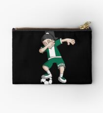 Nigeria Football Dabbing Soccer Girl With Soccer Ball And National Flag Jersey Futbol Fan Design Studio Pouch